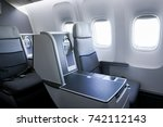 interior of airplane with empty ... | Shutterstock . vector #742112143