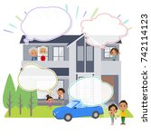 family 3 generations house... | Shutterstock .eps vector #742114123