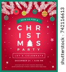 vector christmas party design... | Shutterstock .eps vector #742116613