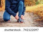 close up a legs of runner in a... | Shutterstock . vector #742122097