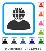 global politician icon. flat... | Shutterstock .eps vector #742129663