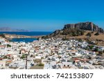 the acropolis of lindos in...   Shutterstock . vector #742153807