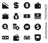 16 vector icon set   crisis ... | Shutterstock .eps vector #742154623