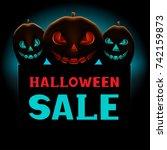 halloween pumpkins sale message ... | Shutterstock .eps vector #742159873
