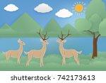 fabric art vector illustration... | Shutterstock .eps vector #742173613