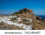 the acropolis of lindos in...   Shutterstock . vector #742189687