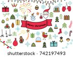 set of christmas and new year... | Shutterstock .eps vector #742197493