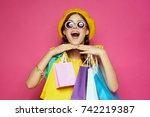 joyful woman with multi colored ... | Shutterstock . vector #742219387