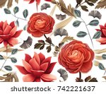 seamless tropical flower  plant ...   Shutterstock . vector #742221637