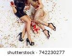 overhead view on sexy women... | Shutterstock . vector #742230277