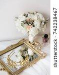wedding rustic bouquet ... | Shutterstock . vector #742238467
