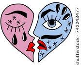 crying broken heart | Shutterstock . vector #742243477