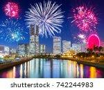 new years firework display in... | Shutterstock . vector #742244983