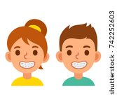 cute cartoon boy and girl with... | Shutterstock .eps vector #742252603