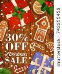 christmas sale poster of santa... | Shutterstock .eps vector #742255453