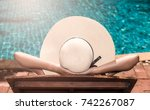 asian young  woman in big hat... | Shutterstock . vector #742267087