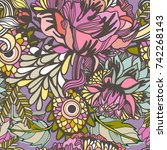 vector bright floral seamless... | Shutterstock .eps vector #742268143