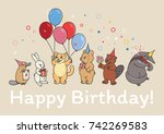 an animals party  a beaver... | Shutterstock .eps vector #742269583