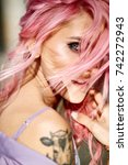 gorgeous lady with pink hair... | Shutterstock . vector #742272943