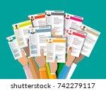 hands holding cv resume... | Shutterstock .eps vector #742279117