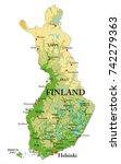 finland relief map | Shutterstock .eps vector #742279363