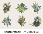 winter set. floral christmas... | Shutterstock .eps vector #742280113