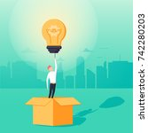think outside the box business... | Shutterstock .eps vector #742280203