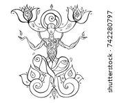yoga silhouette. hand drawn...   Shutterstock .eps vector #742280797