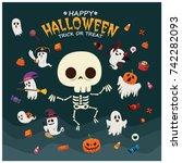 vintage halloween poster design ... | Shutterstock .eps vector #742282093