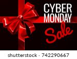 a cyber monday sale sign with a ...   Shutterstock .eps vector #742290667