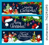 merry christmas and best wish... | Shutterstock .eps vector #742291093
