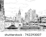 philadelphia. pennsylvania. usa.... | Shutterstock .eps vector #742293007