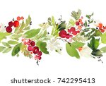 seamless watercolor christmas... | Shutterstock . vector #742295413