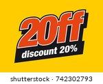 20 off vector logo design. 20 ... | Shutterstock .eps vector #742302793