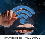 view of a wifi symbol displayed ... | Shutterstock . vector #742330933