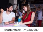 cheerful woman and man joying... | Shutterstock . vector #742332907