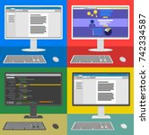 different computer interfaces... | Shutterstock .eps vector #742334587