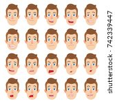 cartoon man. different facial... | Shutterstock .eps vector #742339447