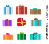 gift boxes of different shapes... | Shutterstock . vector #742343203