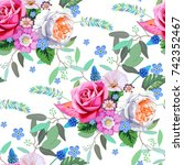 seamless spring floral pattern  | Shutterstock .eps vector #742352467