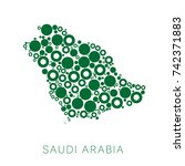 abstract map of saudi arabia... | Shutterstock .eps vector #742371883