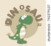 baby dinosour pattern | Shutterstock .eps vector #742379137