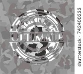 ultimate grey camouflage emblem | Shutterstock .eps vector #742400233