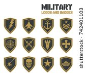 vintage military vector labels... | Shutterstock .eps vector #742401103