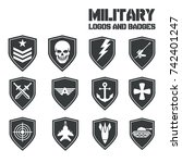 military symbol icons and logos ... | Shutterstock .eps vector #742401247