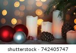 still life with candles  cones... | Shutterstock . vector #742405747