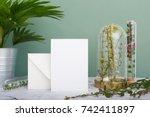 vertical greeting card standing ... | Shutterstock . vector #742411897