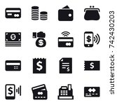 16 vector icon set   card  coin ... | Shutterstock .eps vector #742430203