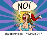 no screams santa woman | Shutterstock .eps vector #742436047