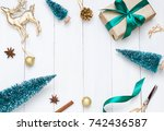 christmas  new year white... | Shutterstock . vector #742436587